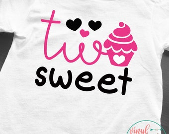 Two Sweet Birthday shirt, girls 2nd birthday shirt, birthday present, birthday girl, 2 year old birthday, 2 years old, cupcake tee