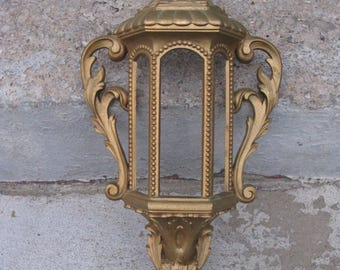 burwood wall planter dated 1974 ornate gold mediterranean gothic old world