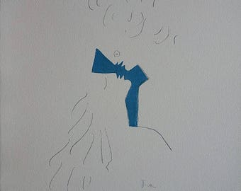 Jean COCTEAU : Kiss in the Blue - Original Signed Lithograph
