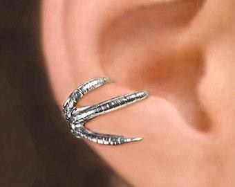 Talon Claw ear cuffs Sterling Silver earrings Claw jewelry handmade Claw earrings Sterling silver ear cuff men & women dragon ear clip C-150