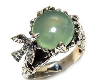 Natural Prehnite Round Gemstone Ring 925 Sterling Silver R1095