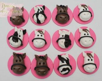 12x Horse Edible Cupcake Toppers