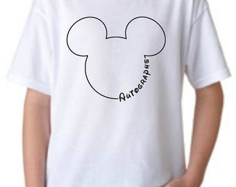 Disney World/Land Autograph Tee! Basic Gildan tee available in Toddler and Child Sizes!