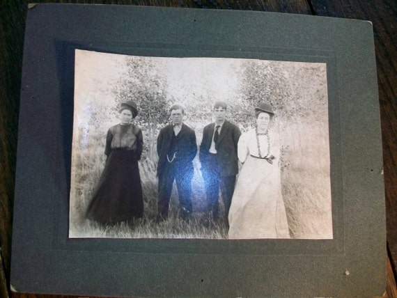 Vintage Photograph 2 Couples Women Wearing Bowler Hats 10 x 8