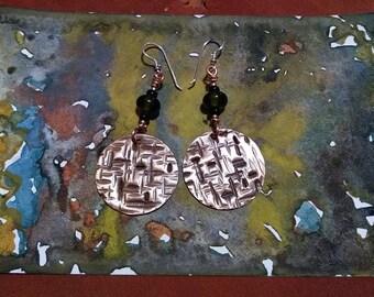Handmade textured copper earrings