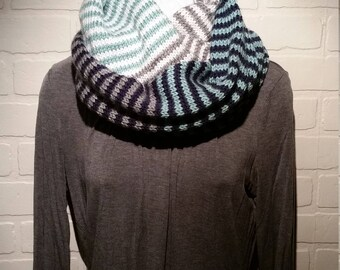 Knit cowl striped infinity scarf