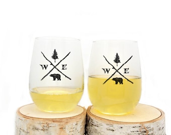 Wine Glasses - Forest Compass - Stemless Wine Glasses - Set of Two Wine Glasses 17oz.