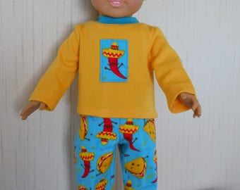 """18"""" Boy Doll Pajamas Flannel Taco Bottoms with Long Sleeve T Shirt Top fits American Girl Type 18"""" Dolls"""