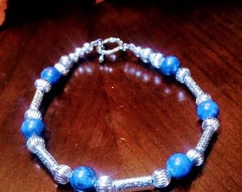 Silver and Blue Lapis Lazuli Bracelet