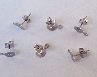 NEW - 40 (20 pairs) Stainless Steel 6mm Earring Posts with Loop and Backs