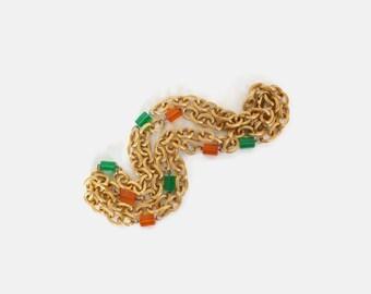 Vintage LERU Necklace SET / 1960s Signed Lucite Cube & Gold Chain Long Necklaces