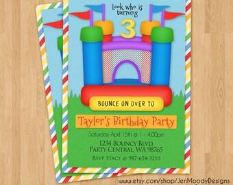 Bouncy House Birthday Invite, Bounce Castle Party Invitation - Printable, Digital, Custom, Boy, Girl, Backyard, Rainbow