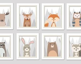 Woodland nursery decor, Woodland Nursery Wall Art, Woodland Nursery Prints, Fox Nursery Art, Forrest Nursery Prints