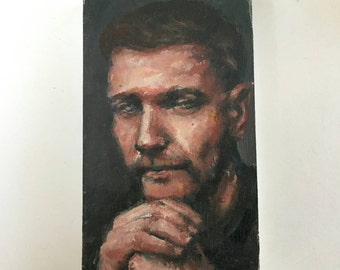 """Gregory, a small portrait in oil 3""""x5"""""""