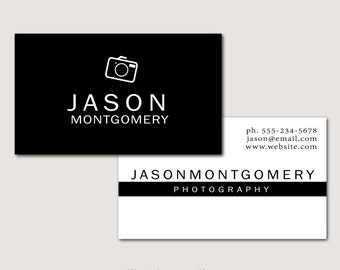 Black and White Personal Business Cards for Photographer - Fully Customizable - Printed