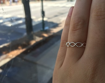 Thick Infinity Twist Rope Textured Sterling Silver Stacking Ring - custom made to order