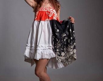 Salvage apparel babydoll dress.  Size  SMALL. Babydoll mini dress, ruffled mini dress, mini halter dress, trashion, upcycled, festival dress