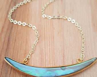 Abalone Shell Crescent Moon Necklace 14K Gold Filled // Gold Shell Necklace // Boho Jewelry // Abalone Slice Necklace // Shell // Choker