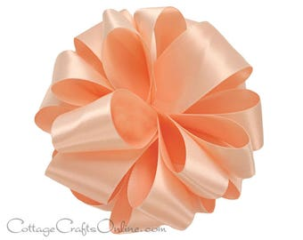 "Satin Ribbon, 1 1/2"", Light Peach Double Sided Satin - FIVE YARDS - Offray Double Face Satin ""Petal Peach #714"", Wedding Ribbon, Sewing Trim"
