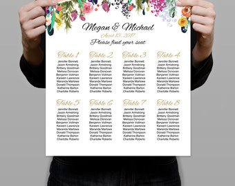 """Wedding Seating Chart Template 16""""x20"""" Seating Plan printable, Seating Chart Sign, Instant Download, Editable PDF - you personalize at home."""