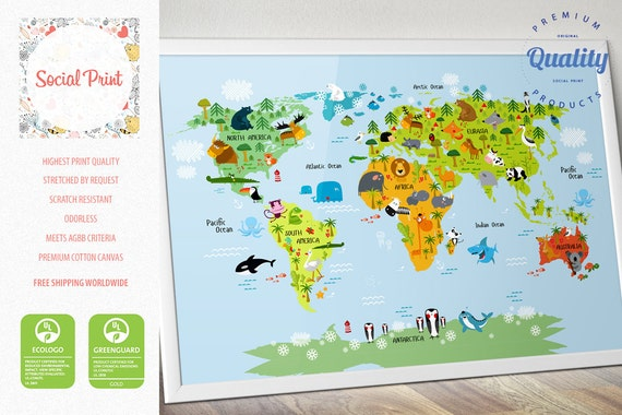 Personalized Childrens World Map Poster Print FREE SHIPPING - Children's map of the world to print free