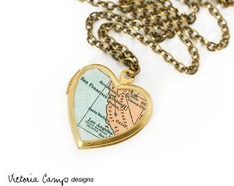 California Map Necklace, Vintage Heart Locket, Antique Map, Map Locket, San Francisco, Los Angeles, Oakland, Santa Barbara