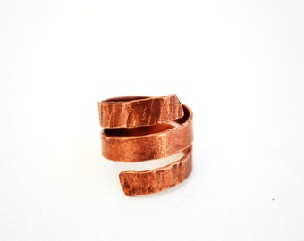 copper ring, bohemian ring, rustic ring, copper jewelry, rustic copper ring, wire wrap copper ring, copper ring adjustable, boho copper ring