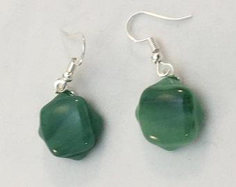 Sparkly jade green drop earrings