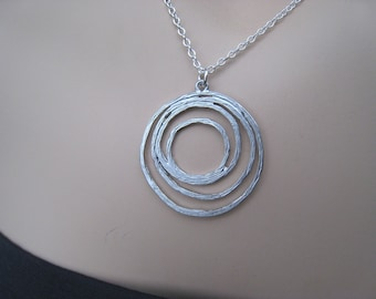 Circles Silver Necklace, Multi Circle Necklace, Concentric Circle Necklace, Silver, Sterling Silver, Irisjewelrydesgin