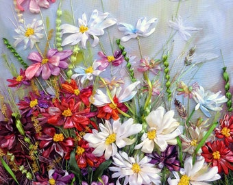 """Wall Art Ribbon embroidered picture """"Wildflowers 2"""",  Silk ribbon embroidery, embroidered landscape, ribbon work,  embroidery art, ribbon"""