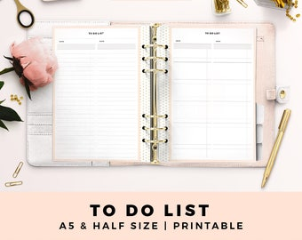 A5 HALF Size Printable Personal Planner Inserts, To Do List, Productive Planner