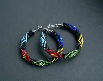 Colorful African Style Earrings, Colorful Zulu Inspired Hoops, Big Hoop Earrings, Ethnic Beadwork Earrings, Maasai Inspired MADE TO ORDER