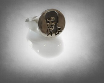 Elvis The king Portrait Silver Sterling 925 Ring