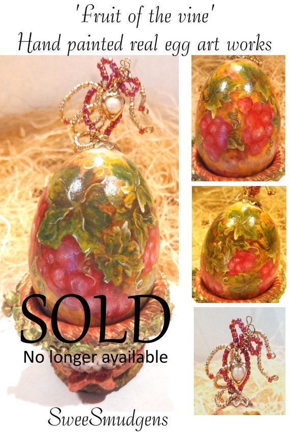 Hand painted red grape vines real egg ornament Easter decor glass beaded egg with vintage gold and pearl heart charm hand made original art