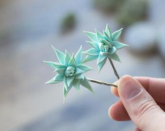 Succulent hair clips - succulent wedding gift - succulent headpiece - tropical hair clips - floral hair clips - mint hair clips - summer