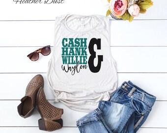 Cash Hank Willie Waylon Muscle Tank | Summer Tank | Casual Shirt | Country Shirt | Music Shirt | Classic Country Tank | Flowy Muscle Tank