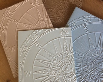 Top Seller/Compass Embossed Stationary/ Set of 10/Handmade Blank Greeting Cards/Compass Nautical Notecards/EmpoweringWOMEN
