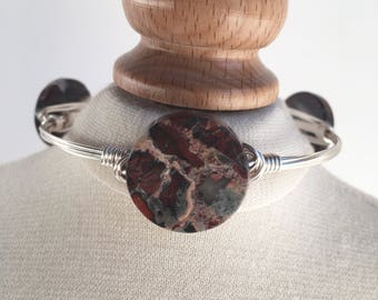 Wire Wrapped Bangle, Jasper Wire Wrap Bangle, Wire Bangle, Wire Wrapped Bracelet, Wire Bangle, Jewelry Gifts