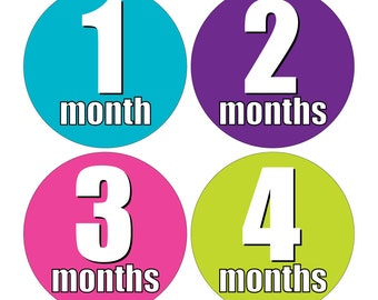 12 Monthly Baby Milestone Waterproof Glossy Stickers - Just Born - Newborn - Weekly stickers available - Design M017-03