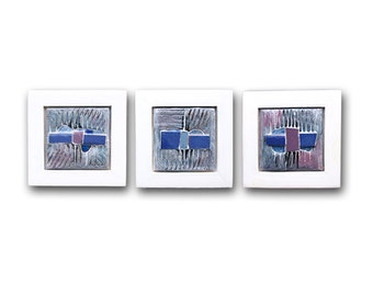 Modern Ceramic (set of 3 ),Ceramic  wall art, Ceramic art objects,  Original ceramic, Abstract Geometric ceramic, Blue and white ceramic