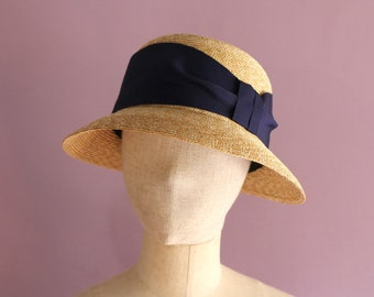 "A Cloche Straw Hat ""Marie Navy"""