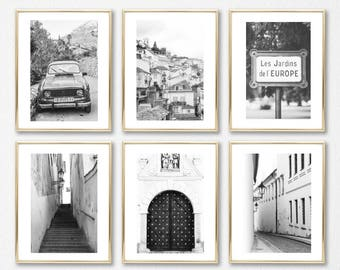 Gift Set Decor Art // Black and White Wall Art // Large Photography Set of 6 Prints // Europe Photography Set