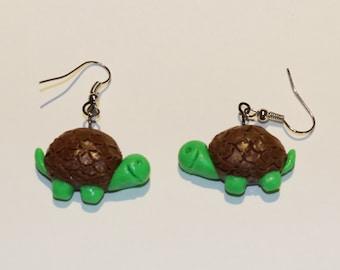 Polymer Clay Sea Turtle Earrings, Jewel, Handmade