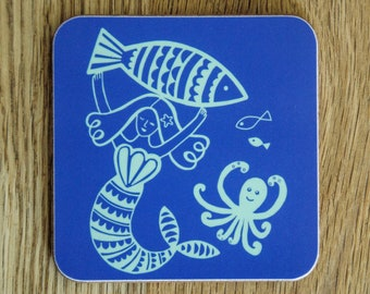 Mermaid Coaster - Single Coaster, Mermaid Art, Mermaid Kitchenware, Mermaid Decor, Housewarming Gift, Mermaid Gift, Mermaid Homeware