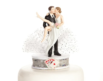 Funny Sexy Over the Threshold Las Vegas Wedding Cake Topper - Custom Painted Hair Color Available - 100206
