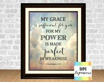 Bible Verse Art Print My Grace Is Sufficient For You, 2 Corinthians 12:9 Printable Christian Wall Decor Scripture Art Print INSTANT DOWNLOAD