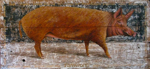 Original Pig painting on reclaimed rustic solid wood