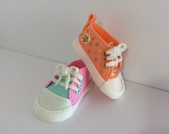 Fondant Edible Baby Converse Shoes Cake Topper
