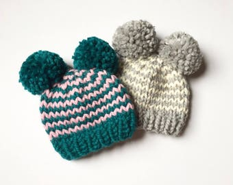 Double Pom Pom Children's Hat - Striped Winter Hat - Baby/Toddler Pom Pom Hat - Wool Blend Winter Hat - Gift for Kids - Kids Winter Hat