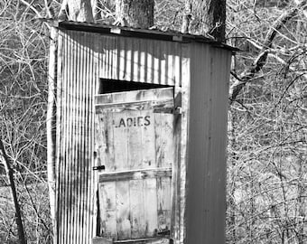 Black and White Outhouse Photo, Primitive Photography, Rustic Ladies Bathroom Decor, Old Country Farmhouse